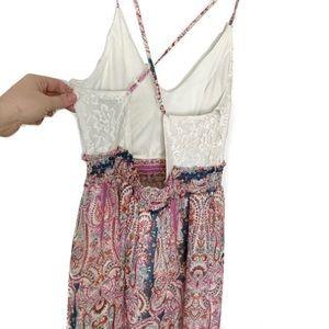 Trixxi Lace Paisley Pink Blue Open Back Maxi Dress